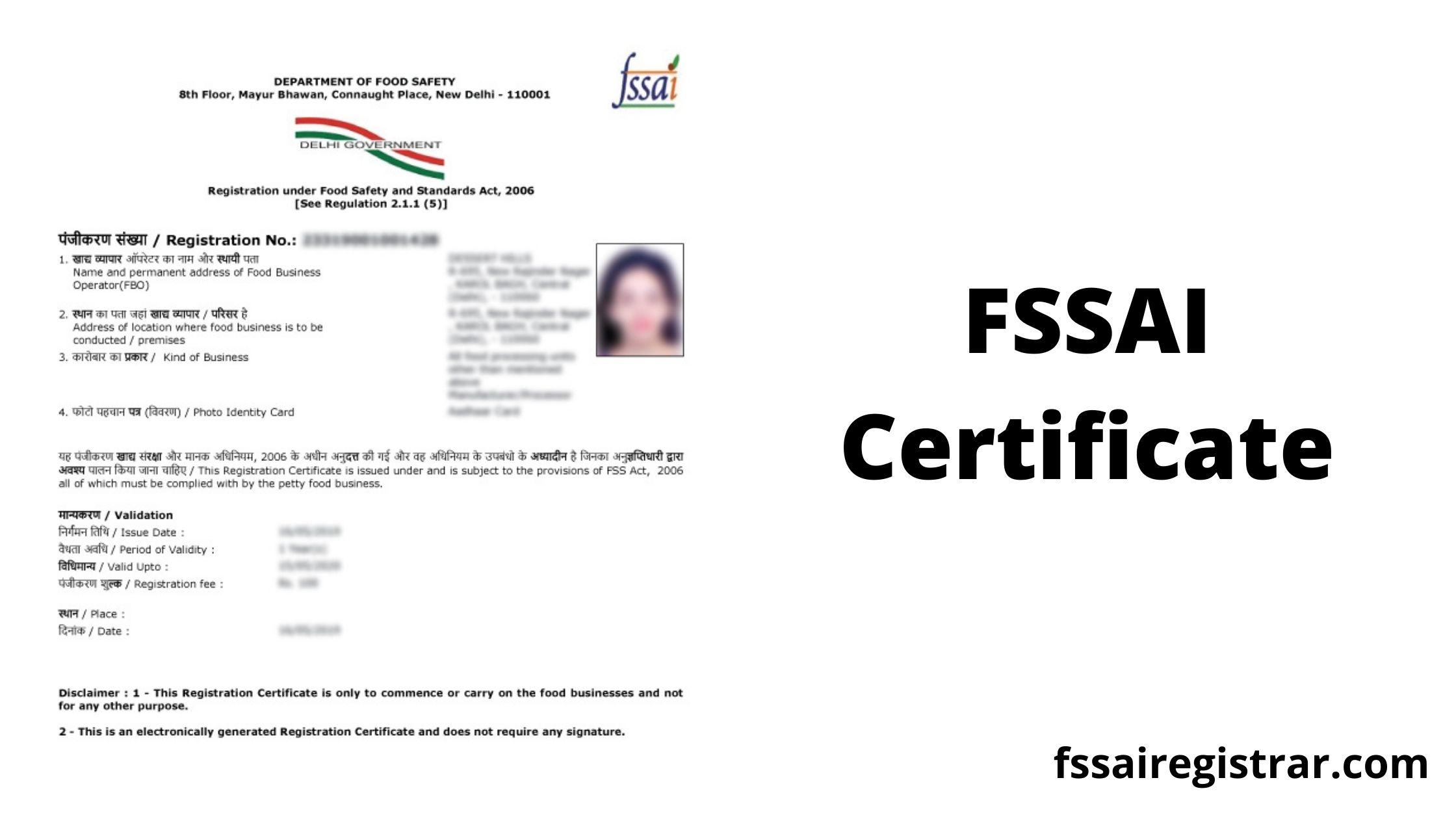 FSSAI Certificate - FSSAI Apply Online - FSSAI License Full Form